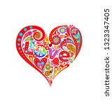 colorful abstract floral heart... | Shutterstock . vector #1323347405