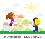 kids painting and drawings on... | Shutterstock .eps vector #1323348428