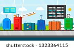passenger luggage bags on ... | Shutterstock .eps vector #1323364115
