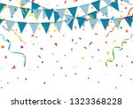 blue party flags with colorful... | Shutterstock .eps vector #1323368228