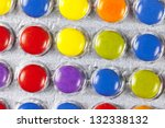 Blister with multi colored pills - stock photo
