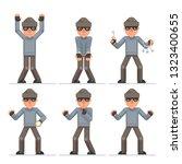 Evil greedily housebreaker thief cartoon rogue bulgar captured character flat design set isolated vector illustration