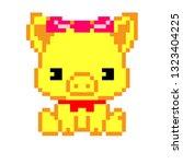 pixel art pig   Shutterstock .eps vector #1323404225