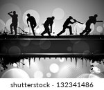 silhouettes of a cricket... | Shutterstock .eps vector #132341486