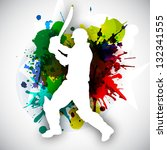 cricket batsman in playing... | Shutterstock .eps vector #132341555