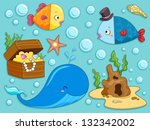 illustration of underwater... | Shutterstock .eps vector #132342002