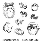 collection of jar of jam with...   Shutterstock .eps vector #1323435032
