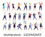 various gesture employee team... | Shutterstock .eps vector #1323442655
