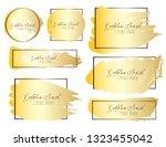 set of brush stroke frame  gold ... | Shutterstock .eps vector #1323455042
