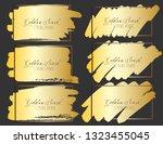 set of brush stroke frame  gold ... | Shutterstock .eps vector #1323455045