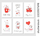 draw vector set greeting card... | Shutterstock .eps vector #1323507698