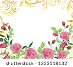 frame with rose and butterfly...