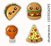 fastfood sticker set   kawaii... | Shutterstock .eps vector #1323526292