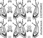 hawk moth seamless pattern... | Shutterstock .eps vector #1323556802