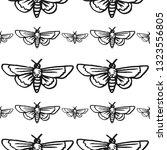 hawk moth seamless pattern... | Shutterstock .eps vector #1323556805