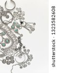 bohemian style silver jewelry... | Shutterstock . vector #1323582608