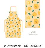 kitchen apron with cute orange... | Shutterstock .eps vector #1323586685