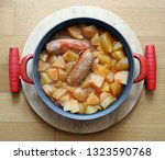 pork sausages with boiled... | Shutterstock . vector #1323590768