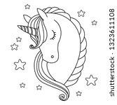cute unicorn. black and white... | Shutterstock .eps vector #1323611108