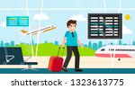 traveler with a suitcase on the ... | Shutterstock .eps vector #1323613775