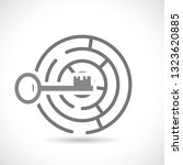 maze with key outline icon | Shutterstock .eps vector #1323620885