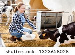 positive female farm worker... | Shutterstock . vector #1323658028