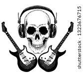 cool vector rock music skull... | Shutterstock .eps vector #1323676715