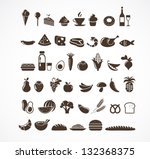 vector food icons and elements | Shutterstock .eps vector #132368375