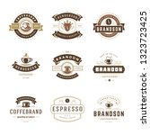 coffee shop logos design... | Shutterstock .eps vector #1323723425