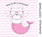 hand drawn beautiful funny cat... | Shutterstock .eps vector #1323776648