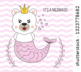hand drawn beautiful funny bear ... | Shutterstock .eps vector #1323778682