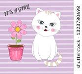 beautiful girl kitten with... | Shutterstock .eps vector #1323780698