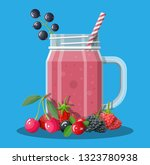 jar with mixed berries smoothie ... | Shutterstock .eps vector #1323780938