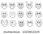 Cute Owls Collection. Outlined...