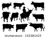 bulls and cows silhouettes | Shutterstock .eps vector #132381425