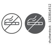 no smoking line and glyph icon  ... | Shutterstock .eps vector #1323816512