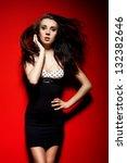 fashionable girl wearing... | Shutterstock . vector #132382646