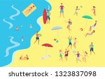 vector people at seaside beach... | Shutterstock .eps vector #1323837098