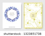 vector blue flax floral... | Shutterstock .eps vector #1323851738