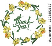 vector yellow narcissus floral... | Shutterstock .eps vector #1323853832