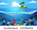 sea landscape  with island and... | Shutterstock .eps vector #132386432