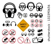 safety signs for abrasive wheel ... | Shutterstock .eps vector #132390656