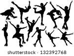 vector figure skating silhouette | Shutterstock .eps vector #132392768