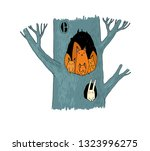 squirrels in the hollow. magic... | Shutterstock .eps vector #1323996275