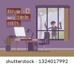 thief planning the house... | Shutterstock .eps vector #1324017992