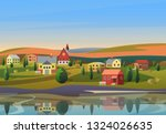 small town landscape with... | Shutterstock . vector #1324026635