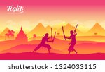thailand warriors with sword... | Shutterstock .eps vector #1324033115