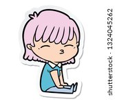 sticker of a cartoon woman | Shutterstock .eps vector #1324045262