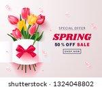 spring sale banner. beautiful... | Shutterstock .eps vector #1324048802
