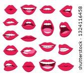 set of female lips. pink lips... | Shutterstock .eps vector #1324116458